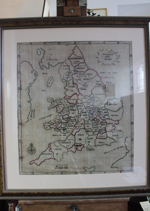 Needlework map of English and Welsh counties dated 1787