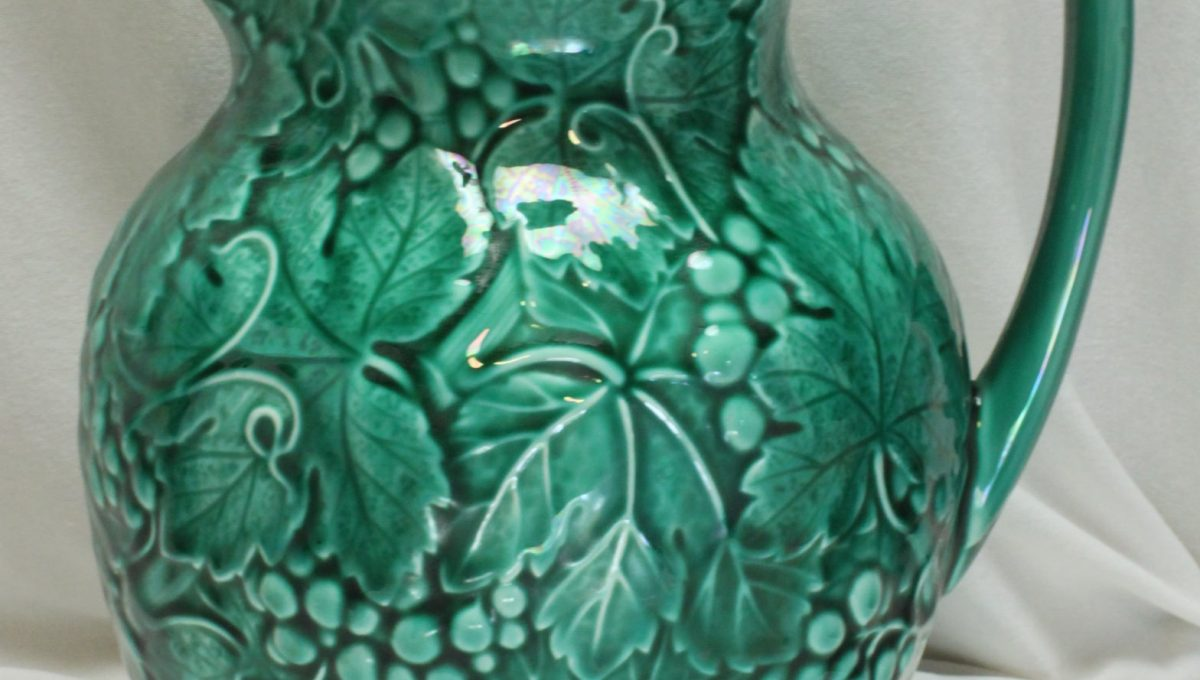 Wedgwood green majolica jug or pitcher