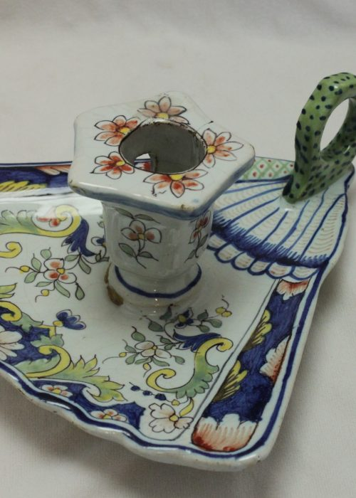 French faience candle holder in the shape of a fan