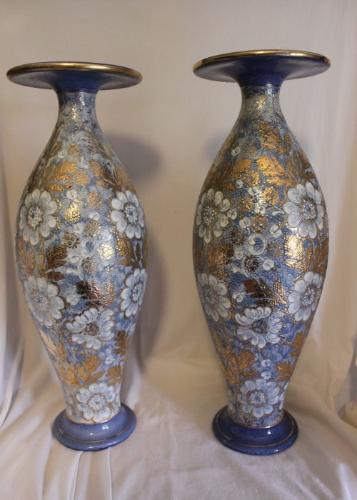 Pair of large Royal Doulton Chine Gilt vases