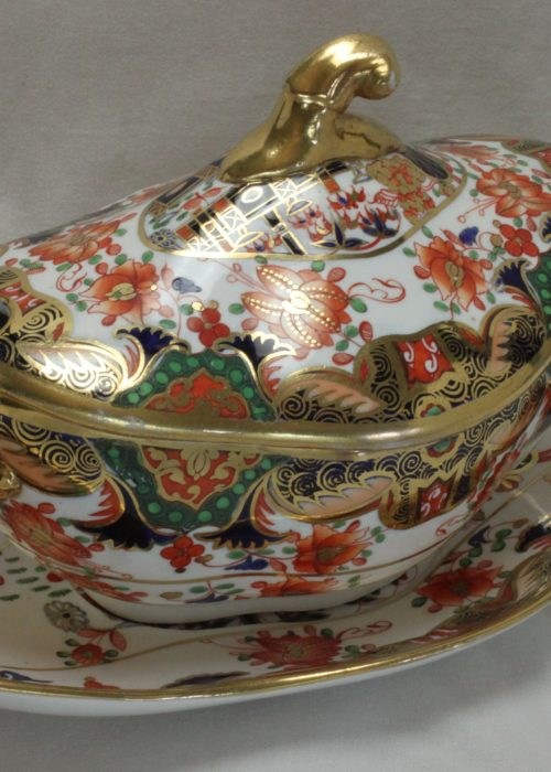Spode sauce tureen with stand decorated with pattern 967