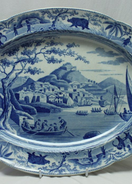 Spode blue and white platter Principal entrance to the harbour of Cacamo