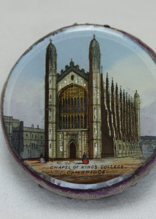 Souvenir reverse painted pin cushion Kings College Cambridge