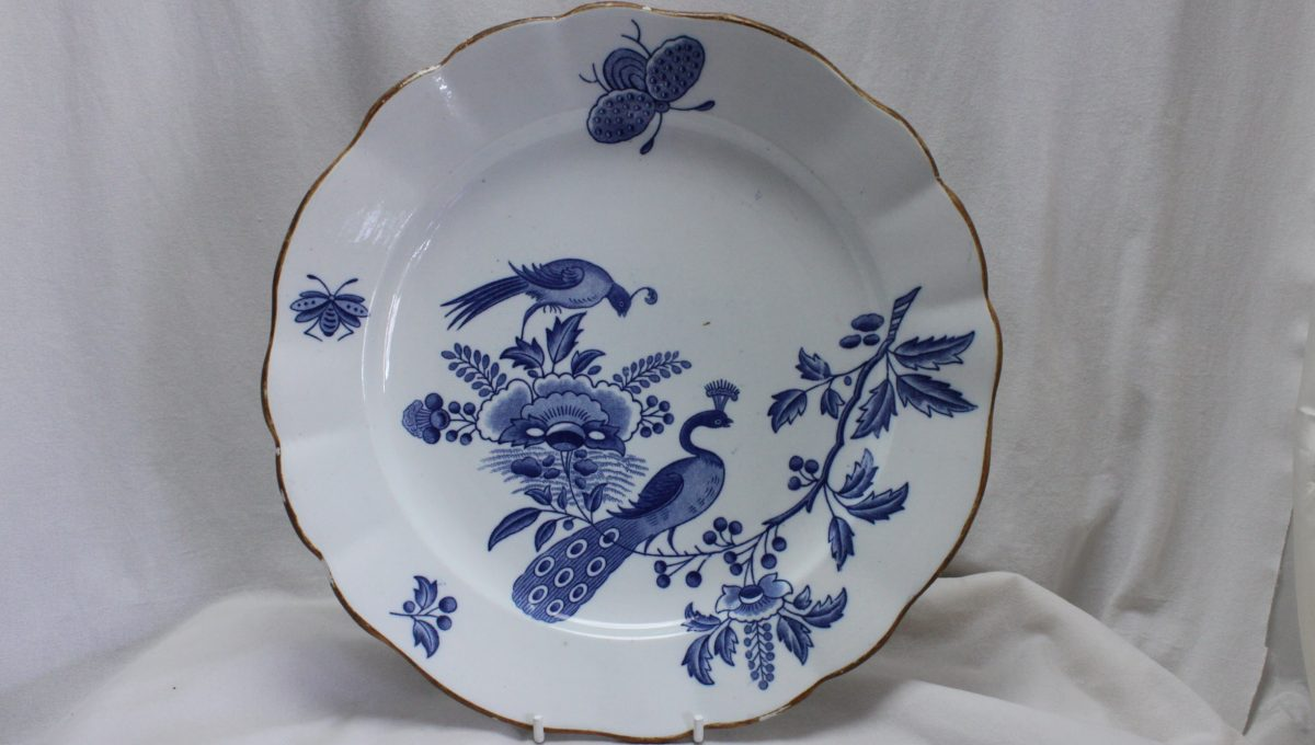 Boch Freres blue and white plate Paon pattern