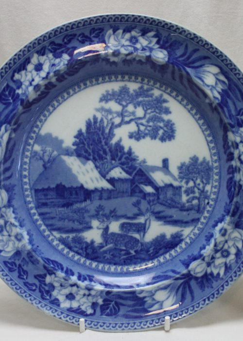 Wedgwood blue and white Fallow Deer pattern plate