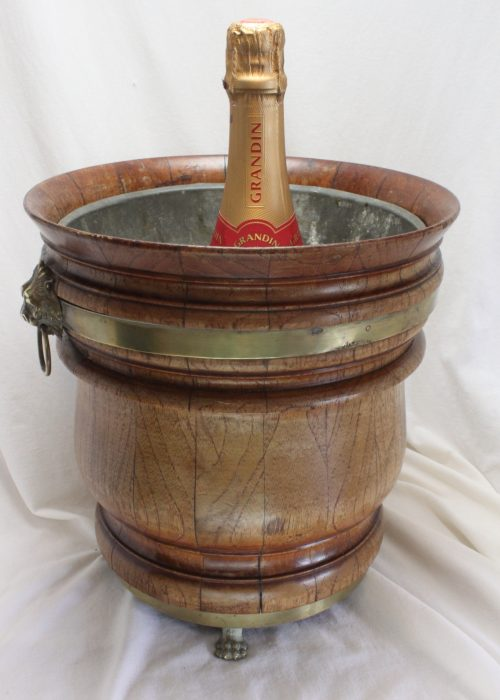 Brass bound wooden wine cooler or jardiniere