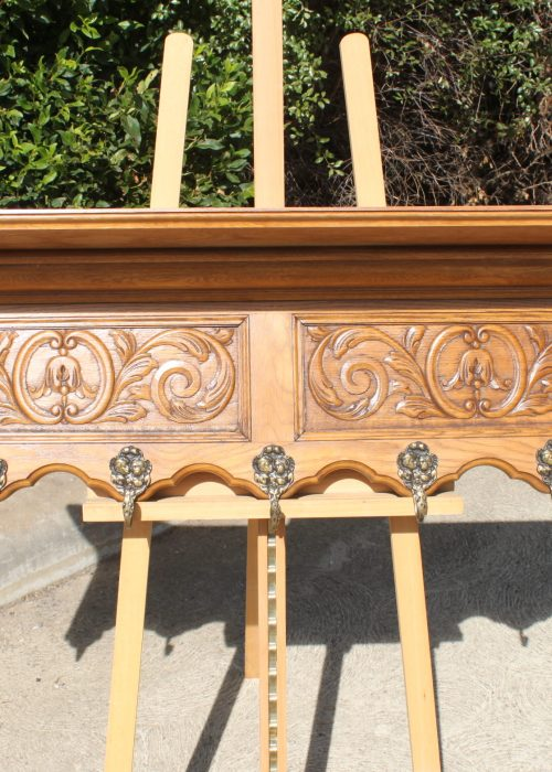 French carved oak coat rack with plate shelf