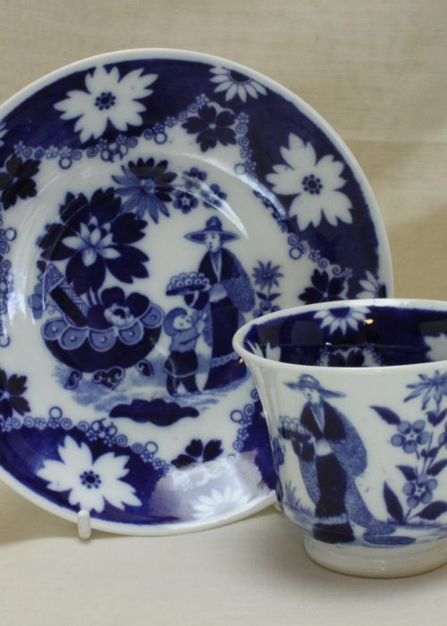 Hilditch porcelain blue and white cup and saucer Eskimo Child pattern