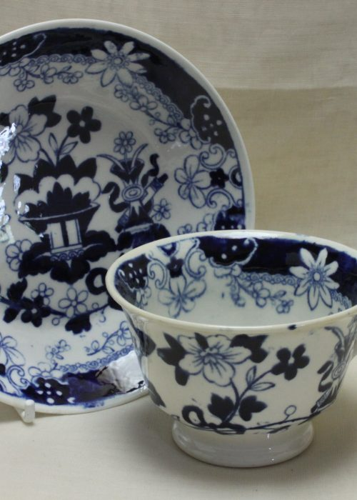 Rathbone blue and white cup and saucer