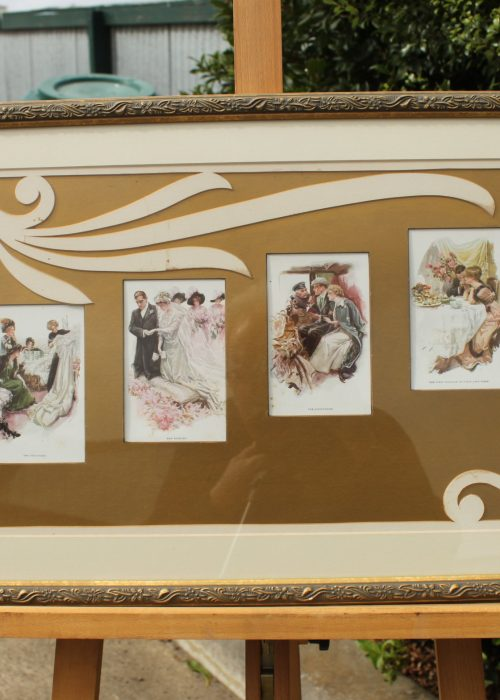 Framed set of Harrison Fisher postcards